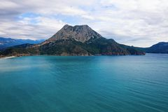 Panoramic view from the mountain over the Kas rivera ,hiking up Lycian trail mountain of Kas. Turkey royalty free stock photography