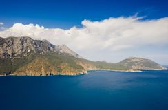 Panoramic view from the mountain over the Kas rivera ,hiking up Lycian trail mountain of Kas. Turkey stock photography
