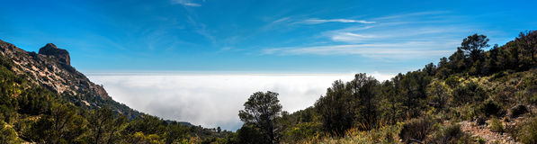 Panoramic view of a Mountain pass Stock Images