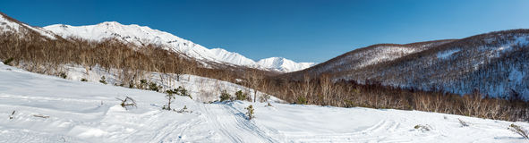 Panoramic view of a mountain pass Stock Photo