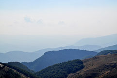 Panoramic view of mountain peaks Stock Photo