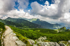 Panoramic view of mountain peaks from the trail Stock Photography