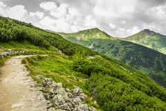 Panoramic view of mountain peaks from the trail Royalty Free Stock Photography