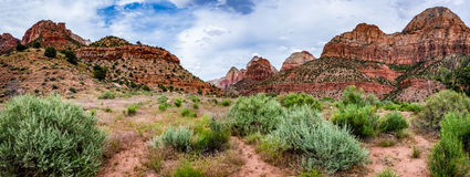 Panoramic View of Mountain Peaks in Zion National Park, Utah. Royalty Free Stock Photos