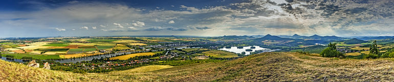 Panoramic view of mountain Radobyl Royalty Free Stock Photography
