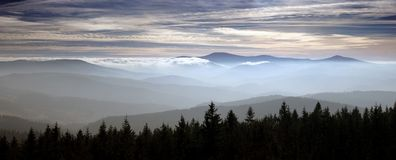 Panoramic View of Mountain Range Stock Photos