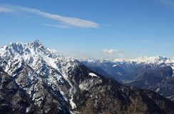 Panoramic view of Mountain range with snow from Lussari Mount in Royalty Free Stock Photo