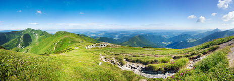 Panoramic view from mountain ridge Stock Photos