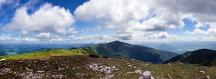 Panoramic view from mountain ridge Stock Images