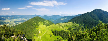Panoramic view from mountain-ridge Stock Photo