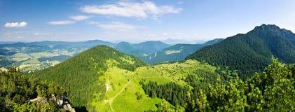 Panoramic view from mountain-ridge stock photo