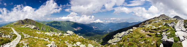 Panoramic view from mountain ridge Stock Photo