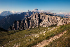 Panoramic view of mountain ridge near Tre Cime Royalty Free Stock Images