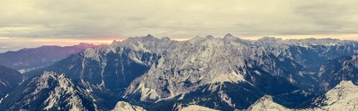 Panoramic view of mountain ridge at sunrise. Royalty Free Stock Photography