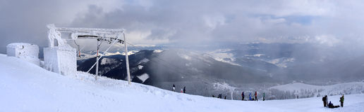 Panoramic view of the mountain and ski lift Stock Photo