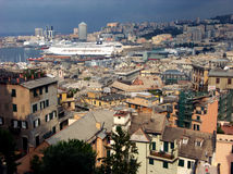 Panoramic view from mountain to the Genoa,Italy Royalty Free Stock Photos