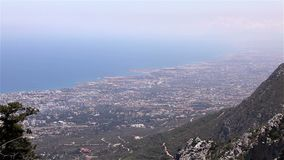 Panoramic view from the mountain to the sea town, general view, beautiful view, sea resort, panorama stock video