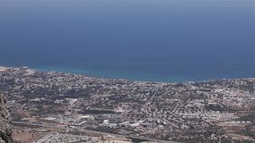 Panoramic view from the mountain to the sea town, general view, beautiful view, sea resort, panorama stock video footage