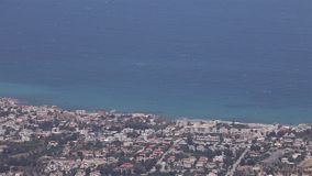 Panoramic view from the mountain to the sea town, general view, beautiful view, sea resort, panorama stock footage
