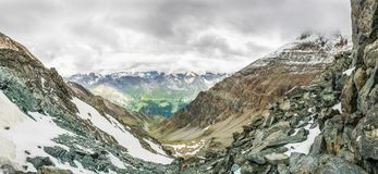 Panoramic view of a mountain valley from a ridge Stock Photography
