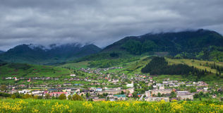 Panoramic view of the mountain village Stock Photos