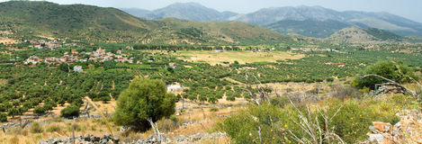 Panoramic view on mountain village in suuny day Royalty Free Stock Photography