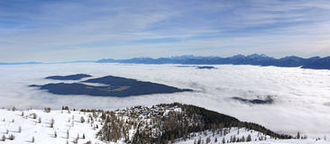 Panoramic View of the mountain in winter Royalty Free Stock Photos