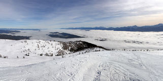Panoramic View of the mountain in winter Stock Image