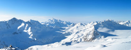 Panoramic view of the mountains. Panoramic view of the main Caucasian mountain ridge. View from Elbrus, 3500m Stock Photo