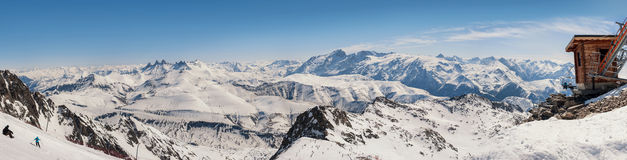 Panoramic view of the mountains. A panoramic view on Alps winter mountains, Les 2 Alpes, France Stock Photography