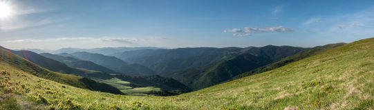 Panoramic view of mountains in amazing evening light Royalty Free Stock Images