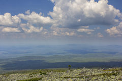 Panoramic view of the mountains and cliffs, South Ural. Summer in the mountains.View from the mountains. The nature of the souther Royalty Free Stock Images