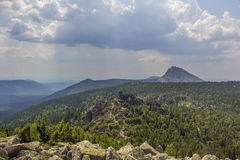 Panoramic view of the mountains and cliffs, South Ural. Summer in the mountains.View from the mountains. The nature of the souther Royalty Free Stock Photography