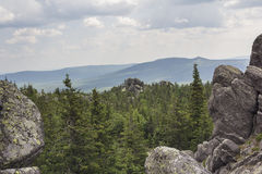 Panoramic view of the mountains and cliffs, South Ural. Summer in the mountains.View from the mountains. The nature of the souther Stock Photos