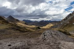 Panoramic View of mountains in the Cordillera Huayhuash, Andes Mountains, Peru royalty free stock photo
