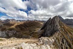 Panoramic View of mountains in the Cordillera Huayhuash, Andes Mountains, Peru stock image