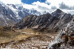 Panoramic View of mountains in the Cordillera Huayhuash, Andes Mountains, Peru stock photo