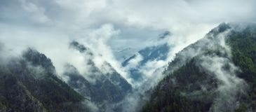 Panoramic view of the mountains in the early morning royalty free stock image