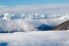 Panoramic View on Mountains in French Al royalty free stock image