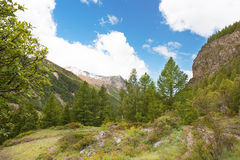 Panoramic view of the mountains of the Gran Paradiso Park, Italy Royalty Free Stock Images