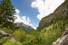 Panoramic view of the mountains of the Gran Paradiso Park, Italy Stock Photos