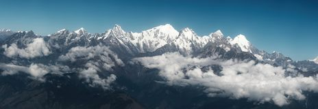 Panoramic view of mountains on Himalayan Range, Nepal royalty free stock photography