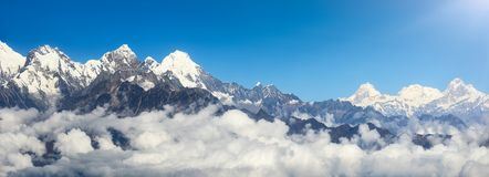 Panoramic view of mountains on Himalayan Range, Nepal stock photo
