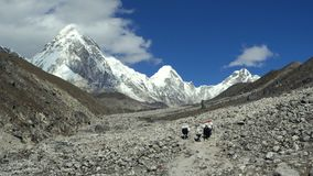 Mountains in Himalayas, Nepal. Panoramic view of mountains in Himalayas, Nepal, on the hiking trail leading to the Everest base camp stock video