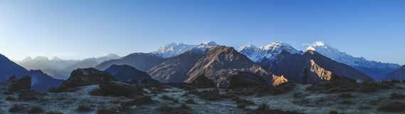 Panoramic view of mountains in Karakoram range. Pakistan. royalty free stock photo