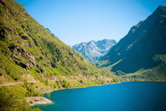 Panoramic view of Mountains and Lake in Pyrenees Stock Photo