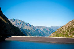 Panoramic view of Mountains and Lake in Pyrenees Stock Image