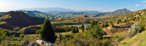 Panoramic View of Mountains and lake Royalty Free Stock Images