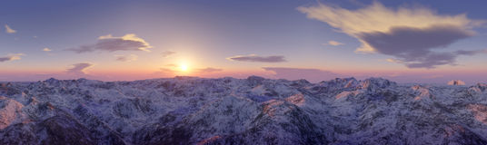 Panoramic view of mountains landscape. Photorealistic computer render of snow covered  mountains at dawn Stock Photos