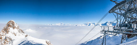 Panoramic view of mountains peaks in French Alps. Stock Image